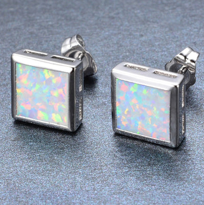 Opal Square Earrings