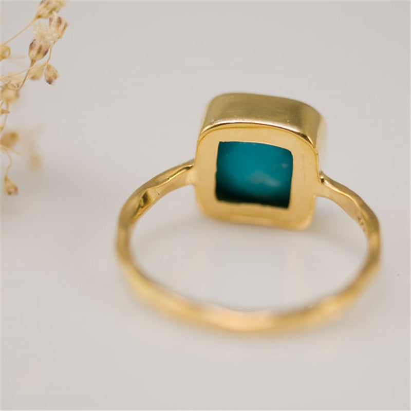 Gold Ring with blue natural stone