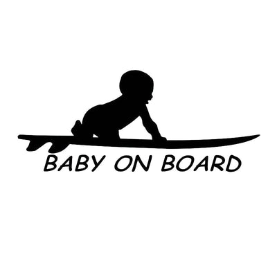 Baby On Board Surf Sticker in black variant