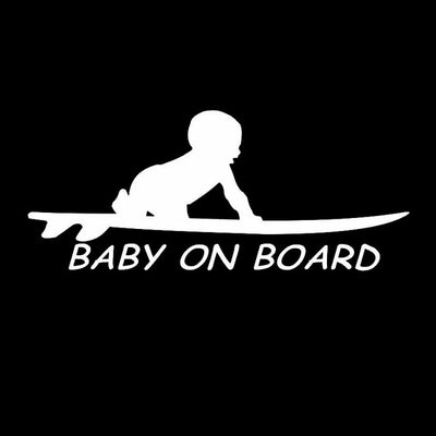 Baby On Board Surf Sticker in white variant