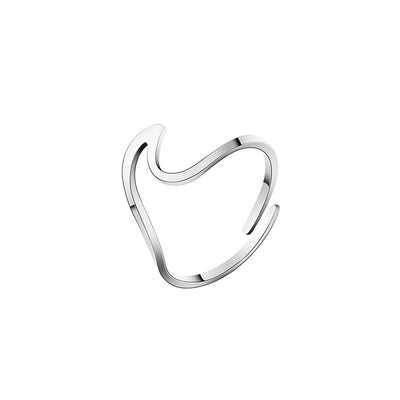 Silver Adjustable Wave Ring