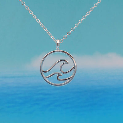 Double Wave Necklace in silver