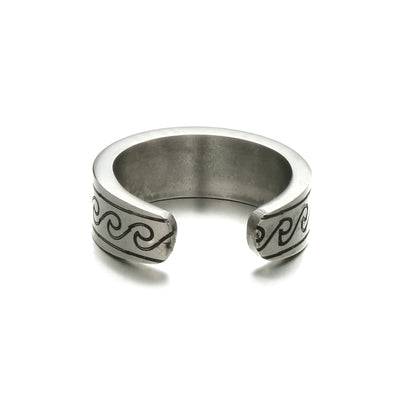 Laguna Beach Ring silver-coloured with black waves