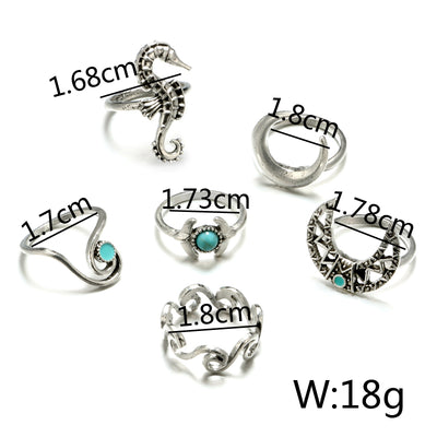 Combination of 6 silver coloured rings with turquoise details