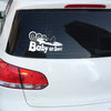 Baby Surfer On Board Sticker in white variant on a car