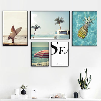 Seascape Canvas in four variants decorating a home