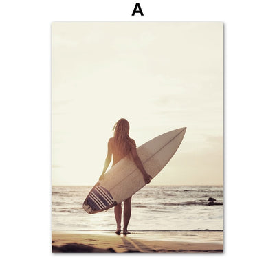 Seascape Canvas of a surfer looking at the sea with his surfboard