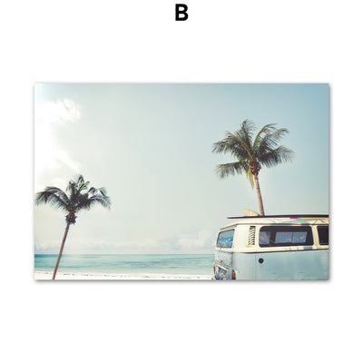 Seascape Canvas of a surf van and palm trees near the beach