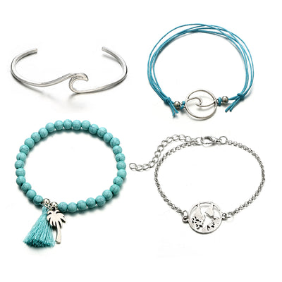 Venice Beach Bracelets silver and turquoise