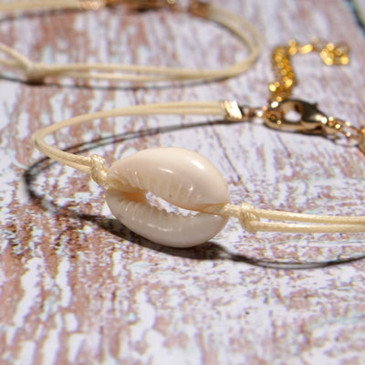 6 pieces Cowrie Shell Bracelet - White Cowrie