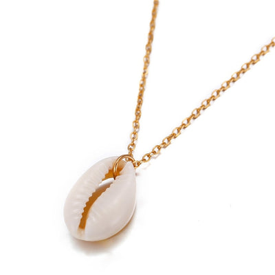 Single Cowrie Shell Necklace with a gold chain and a natural cowrie shell