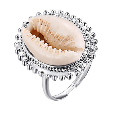 Silver Vintage Shell Ring, with crystals and a white cowrie shell