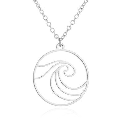 Sea Wave Pendant Necklace in silver