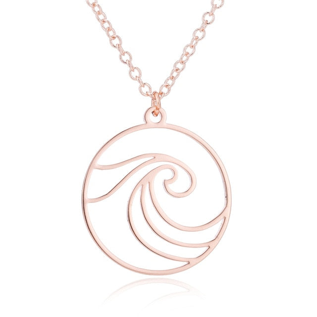 Sea Wave Pendant Necklace in gold