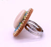 Turquoise Cowrie Shell Ring
