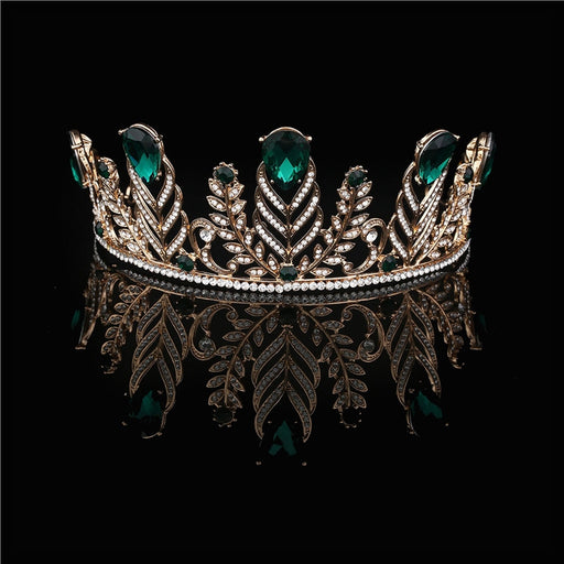 Feather Rhinestone Decorated Crown