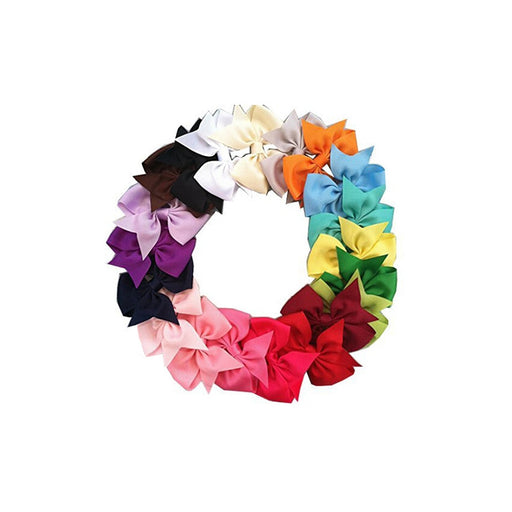 20pc colored Ribbon Hair Clips