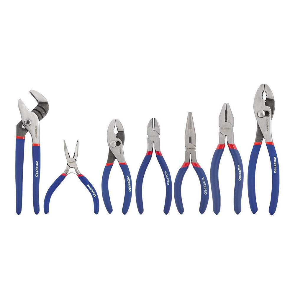 Workpro 7-piece Pliers Set (8-inch Groove Joint Pliers
