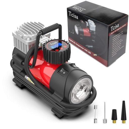 Tcisa 12V DC Portable Air Compressor Pump - Upgraded Digital Tire Inflator with Gauge 140W 150 PSI