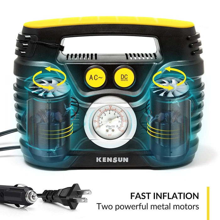 Kensun Tire Inflator AC/DC Portable Air Compressor Pump for Car 12V DC and Home 110V AC Swift Performance Inflator for Car, Bicycle, Motorcycle, Basketball and Others
