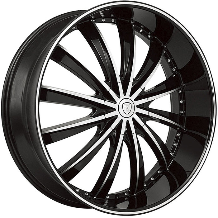 "24"" Borghini B19 Wheels Black Machine"