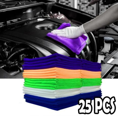 (25PC Pack) Microfiber Cleaning Cloth Towel No-Scratch Rag Car Polishing Detailing $14.50