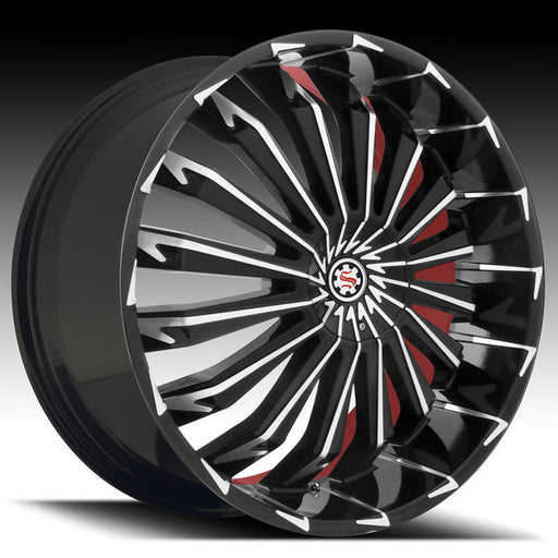"24"" Scarlet SW5 Wheels Black Machined W/ Red Inner"