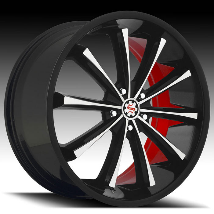 "22"" Scarlet SW3 Wheels Black Machined W/ Red Inner"