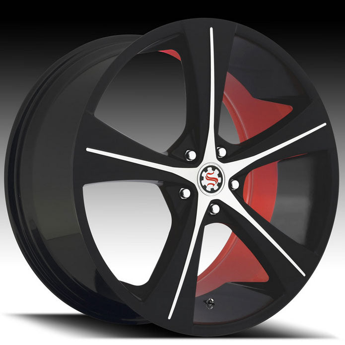 "20"" Scarlet SW4 Wheels Black Machined W/ Red Inner"