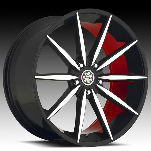 "20"" 22"" Scarlet SW2 Wheels Black Machined W/ Red Inner"