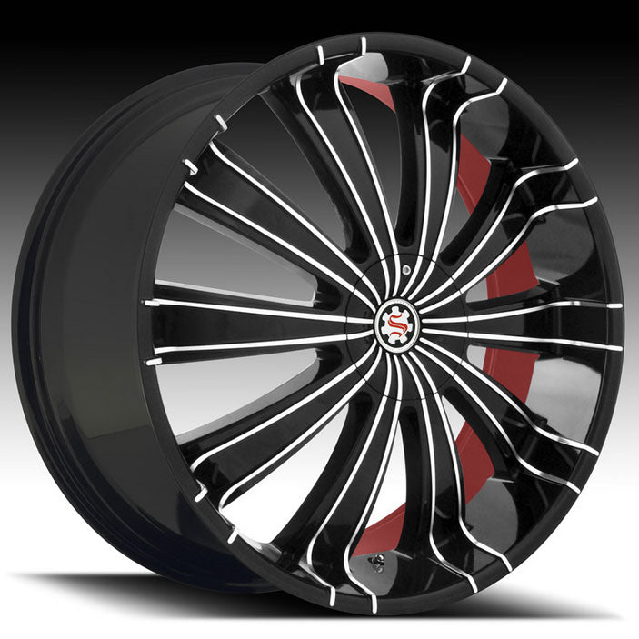 "24"" Scarlet SW6 Wheels Black Machined W/ Red Inner"