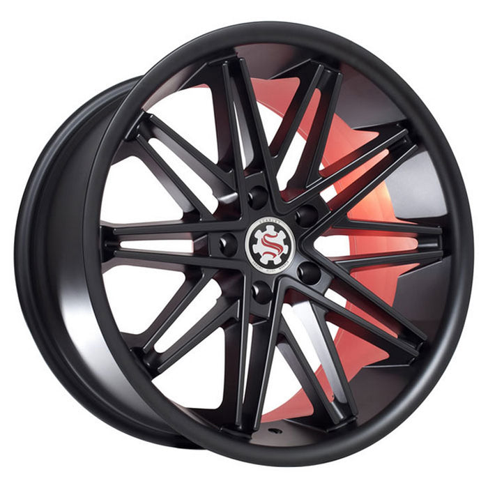 "19"" 20"" 22"" Scarlet SW1 Wheels Black W/ Red Inner"