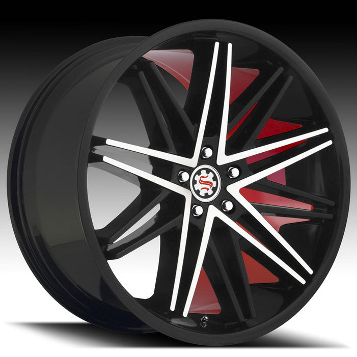 "19"" 20"" 22"" Scarlet SW1 Wheels Black Machined W/ Red Inner"