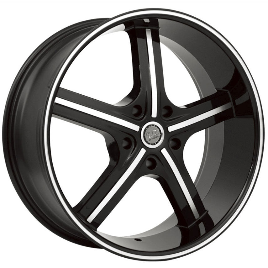 "24"" u2 55 wheels black machine 5 lug"