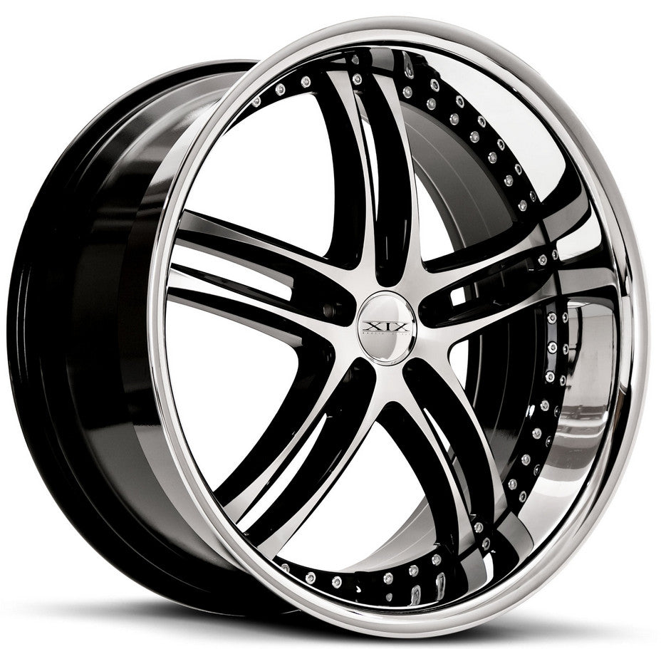 "22"" XIX x15 Wheels Gloss Black Machined with Stainless Steel Lip"