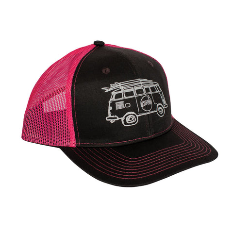 Surf Bus Trucker Hat Dark Gray/Pink