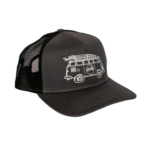 Surf Bus Trucker NewEra 9fifty Hat Flat Brim Olive/Black