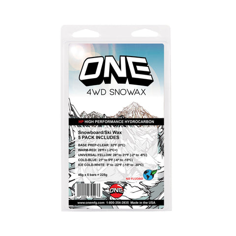 4WD 5 Pack ski and snowboard wax - One Mfg - Oneball Snowboard Accessorie