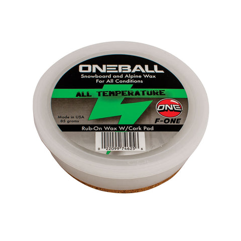 F1 Rub-on All Temperature Ski and Snowboard Wax with cork applicator - One Mfg - Oneball Snowboard Accessories