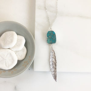 Long Silver Feather and Turquoise Stone Necklace. Pendant Necklace. Druzy Necklace. Boho Necklace. Turquoise Jewelry. Gift. Silver Necklace.