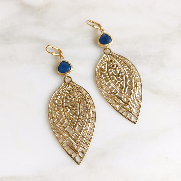 Big Gold Teardrop Statement Earrings with Blue Stones. Gold or Silver Statement Earrings