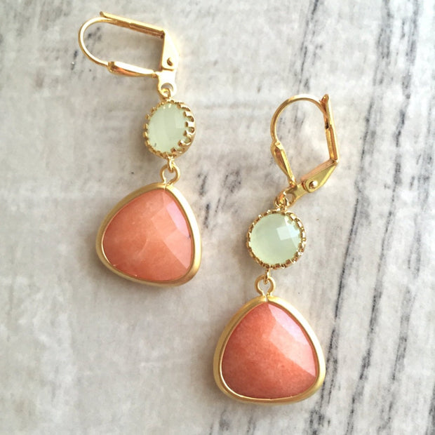 SALE - Creamy Orange and Light Mint Dangle Earrings. Orange Mint Drop Earrings. Bridemaid Earrings. Bridesmaid Jewelry. Wedding Earrings.