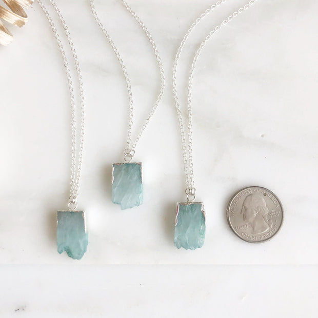 Raw Edge Pale Blue Druzy Quartz Necklace in Sterling Silver. Natural Stone Necklace.