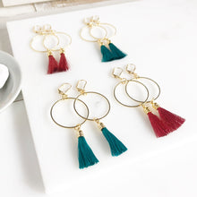 Load image into Gallery viewer, Red Burgundy and Emerald Green Tassel Earrings. Hoop Tassel Earrings. Chandelier Earrings. Jewelry. Gift. Statement Earrings.