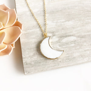 Moon Necklace. White Stone Necklace. White Moon Necklace. Pendant Necklace.