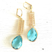 Load image into Gallery viewer, Aquamarine Jewel Dangle Earrings in Gold. Blue Drop Earrings. Drop. Fashion Earrings. Gift. Gift Ideas for Her.