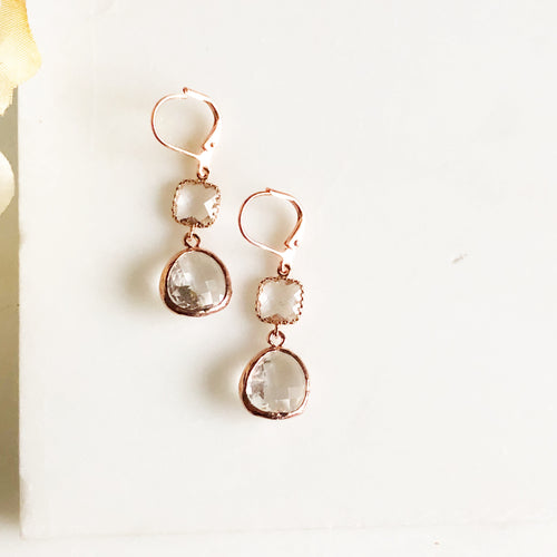 Rose Gold Glass Drop Earrings. Rose Gold Bridesmaid Earrings. Rose Gold Wedding Jewerly.