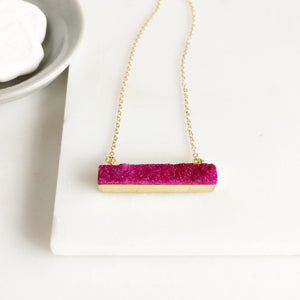 Pink Druzy Bar Necklace in Gold. Druzy Necklace. Pink Druzy Necklace. Gift for Her.