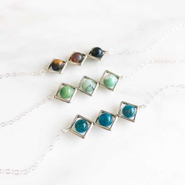 Unique Geometric Bar Necklace with Gemstone Beads in Sterling Silver