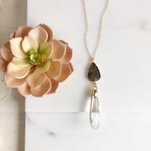 Load image into Gallery viewer, Long Labradorite Leaf and Clear Crystal Drop Pendant Necklace in Gold.